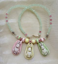 Bonnie the Pink Rabbit Porcelain Pendant and Bead only, by SlinginMud, $8.50