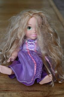 Don't throw away your Disney Rapunzel Tangled doll-Make it look like a brand new doll with this easy method for smoothing and renewing any doll's hair including American Girl & Barbie! Poor Punzey has been banished to the bottom of the toy box because she's looking a hot mess, glad to know she has a second life in her.