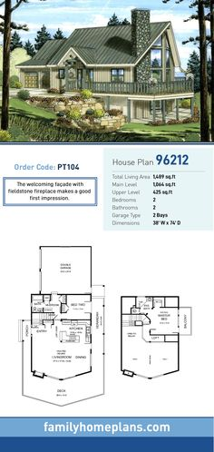 A-Frame House Plan   Total Living Area: 1,489 SQ FT, 2 bedrooms and 2 bathrooms. The welcoming façade with fieldstone fireplace makes a good first impression. #aframe
