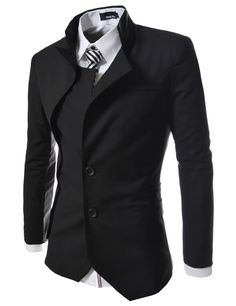 TheLees Mens unbalance 2 button china collar jacket Black X-Large(US Large)