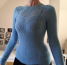 The Corset Pullover is for ladies who would like to show off their hourglass figure but don't want to bother with waist shaping. It's extremely stretchy and meant to be very close-fitting. There are no fixed sizes: the instructions will show you how to make it a custom fit.