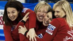 Canada's Heather Nedohin, Beth Iskiw, Laine Peters and Jessica Mair joke around as they wait for their team photo session at the Ford World Women's Curling Championships in Lethbridge, Alta. Description from thechronicleherald.ca. I searched for this on bing.com/images