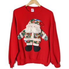DIY Shaggy Beard Hawaiian Santa Tacky Ugly Christmas Sweatshirt