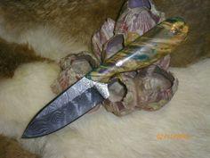 James Ivy Custom Box Elder Burl & Damascus Hunting Knife 1/1 | eBay