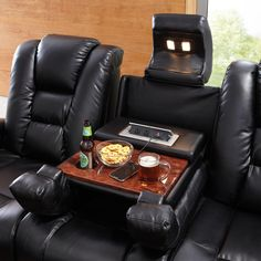 This reclining collection has it all! The Matrix has a powered sofa that is perfect for watching Sunday's Big Game! Featuring a Power headrest, drop down table, AC & USB charging ports, reading lights & hidden storage. Movie Theater Rooms, Home Cinema Room, Home Theater Seating, Home Theater Design, Theatre Rooms, Theater Seats, Theater Recliners, Art Van, Lounge Design