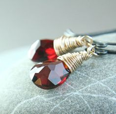 Red Quartz   Earrings   Mixed Metal Jewelry      Gold by hildes, $39.00