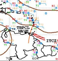 Extracto del último mapa de análisis en superficie de las 18z en donde se describe la ubicación del eje de la Onda Tropical No. 23