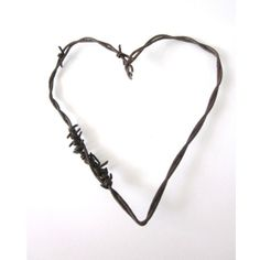 Autumn Fall Rustic Wedding Decor Barbed Wire Heart -The Mended Heart - Old Rusty Cowboy diy wedding decor wedding favors ($15) found on Polyvore
