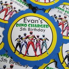 Get Dino Charged! These Power Rangers favor bag tags are guaranteed to make your celebration cool!  Each set includes 12 single-sided favor bag tags constructed from two layers of heavy weight card stock. They measure approximately 2.5 inches in diameter and are attached to ribbon. All 12 of your favor bag tags come fully assembled & ready to use!  Please be sure to include the birthday childs name and age in the Notes to Seller section at checkout. ALL products are made in a smoke and pe...