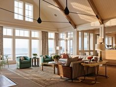 living room design ideas open floor plan cathedral ceiling beadboard large windows