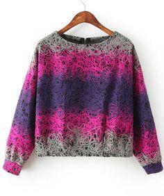 Rose Red Long Sleeve Thin Print Crop Sweatshirt 18.33