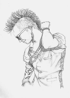 Met this funky dude in a club dressed as a pirate! Jaime Quinn art. Pencil on paper drawing pirate boy mohawk