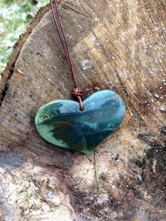 Fancy Jasper Heart and Leather Necklace, Large Heart Stone Necklace by SmithNJewels on Etsy
