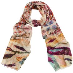 Bindya Floral Multi-colored Print Cashmere And Silk Scarf ($83) ❤ liked on Polyvore featuring accessories, scarves, prints, tube scarf, cashmere scarves, cashmere shawls, floral print scarves and cashmere infinity scarf