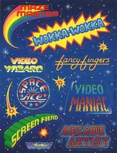 Vintage 80's Hallmark Arcade Sticker Sheet