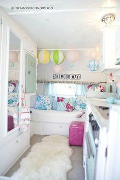 cotton candy camper-  inside a caravan