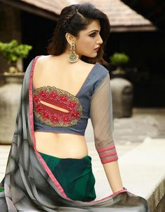 Olive Green Georgette Printed Saree