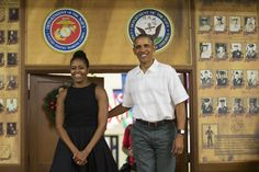 <p>Presumably post opening presents and spending time with their family, Michelle and Barack Obama paid a visit toMarine Corps Base Hawaii in Kaneohe Bay, Hawaii, to thank members of the military for their service. While the President dressed down in a white short-sleeved button down, the first lady was all dressed up in a perfect black sun dress with crochet detailing.</p>
