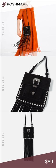 HOST PICK🎈🎈Zara fringe split suede crossbody bag Real suede, brand new with tags, never used🙌🏻 Zara Bags Crossbody Bags