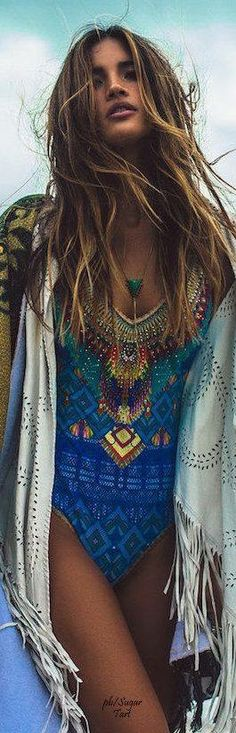 Resort- Boho Chic Maillot and Wrap