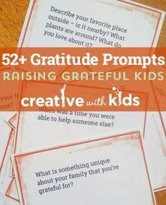 Gratitude Prompts for all year long. Cards you can use to instill thankfulness in your family. Free download.