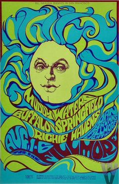 ☯☮ॐ American Hippie Psychedelic Art ~ Muddy Waters | Art by: Bonnie MacLean | Aug 1, 1967 - Aug 6, 1967 | Fillmore Auditorium (San Francisco, CA)