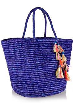 Royal-blue woven toquilla straw Ties at open top Weighs approximately Tote Handbags, Tote Bags, Ancient Greek Sandals, Straw Tote, Blue Maxi, Resort Wear, Royal Blue, Studio, Panama Hat