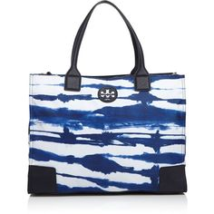 Tory Burch Ella Printed Packable Tote (10,860 DOP) ❤ liked on Polyvore featuring bags, handbags, tote bags, babylon tie dye, nylon tote, nylon tote bags, tote handbags, nylon handbags and logo tote bags