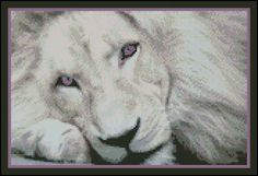 Lonely Lion  -  Counted Needle Point and Cross Stitch Chart Patterns