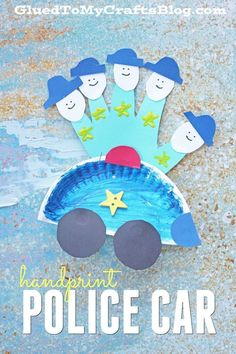 Paper Plate Handprint Police Car - Kid Craft - Glued To My Crafts Police Activities, Printable Activities For Kids, Toddler Activities, Paper Crafts For Kids, Paper Plate Crafts, Police Crafts, Police Officer Crafts, Police Police, Community Helpers Crafts