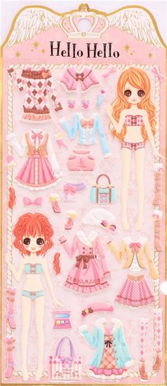 Japanese Kamio dress up doll 3D stickers sweet girly playful outfits 3