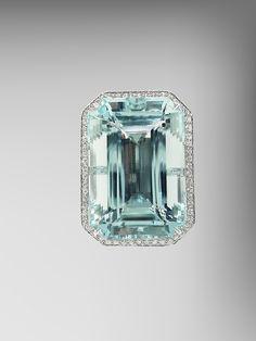 Emerald Cut Aquamarine Ring with Diamonds