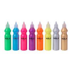 IKEA - MÅLA, Selvlysende/glittermaling, , Malingen er klar til brug, men kan fortyndes med vand for at opnå en lysere effekt.  Dit barn kan male med en pensel eller tegne og skrive med spidsen af flasken.