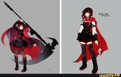 rwby, roosterteeth I feel like you can see such an improvement in the concept design. Rwby Anime, Rwby Fanart, Red Outfits, Anime Outfits, Red Like Roses, White Roses, Beacon Academy, Rwby Pyrrha, Rwby Rose