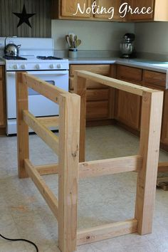 Look at this super easy frame*************DIY Pallet Kitchen Island for Less Than $50 :: Hometalk