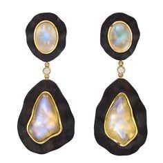 Dorota Ebony Moonstone Gold Pendant Earclips   From a unique collection of vintage drop earrings at https://www.1stdibs.com/jewelry/earrings/drop-earrings/