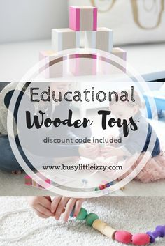 Educational Wooden Toys | Educational Toys | Wooden Toys | Wood Toys | Pre School | Pre K | Early Education | Toddler Play | Toddler Toys | Educational Activities | Busy Little Izzy Blog | Discount Code | Coupon Code | Baby Toys | Wooden Blocks | Pink Blocks