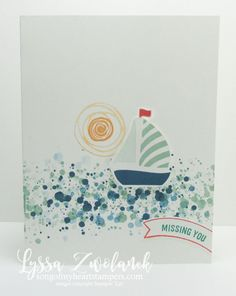 Clean and simple boat swirly card Swirly Bird by Stampin' Up songofmyheartstampers.com masculine nautical greeting card