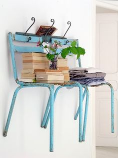 We do this in the garage with all of my many photo prop chairs, but I really can't wait to have space to do it inside too! #chairs #storage