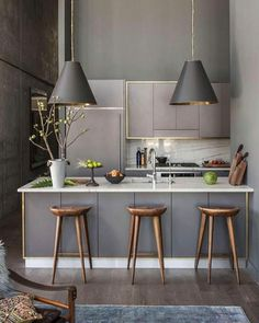 Modern Kitchen Interior Remodeling Gorgeous moody grey kitchen - Heart of the Home: Kitchen Townhouse Kitchen Ikea, Home Decor Kitchen, New Kitchen, Kitchen Small, Apartment Kitchen, Gold Kitchen, Compact Kitchen, Kitchen Stools, Kitchen White