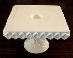 Vintage Square Milk Glass Pedestal Cake Stand With Rum Well c. 1930