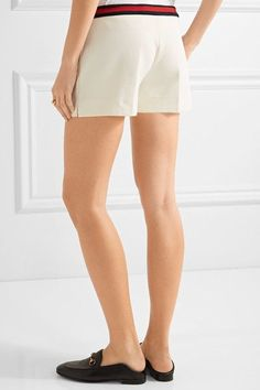 Gucci - Ribbed Knit-trimmed Twill Shorts - Ivory -