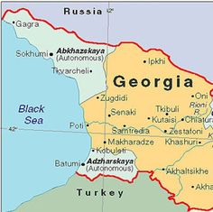 Map of Abkhazia, Georgia, and Adzharskaya.