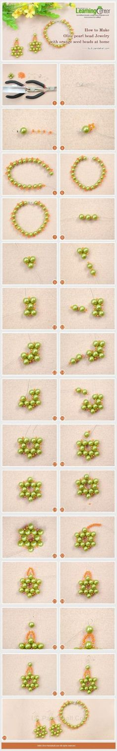 How to Make Olive Pearl Bead Jewelry with Orange Seed Beads at Home by Jersica