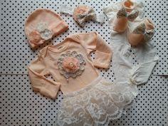 Newborn Baby Girl Outfit Headband Hat Socks by LeopardLaceLove