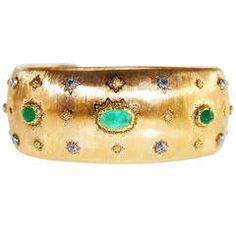 Buccellati Emerald Diamond Gold Cuff Bracelet