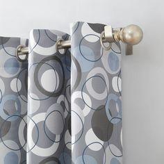 Jupiter Geometric Print Casual Textured Grommet Curtain Panel Nickel - No. Grommet Curtains, Drapes Curtains, Curtain Length, Geometric Circle, Colorful Curtains, Circle Pattern, Circle Design, Curtain Rods