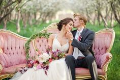 Gorgeous rosy orchard bridals, Stephanie Pass Photography, Florivore Events, Garland, Spring Bridals, Wedding, Blossoming Orchard, Blossom Bridals, couch in an orchard, couch bridals, Maggie Sottero Dress, Bridal Closet, Greek goddess bridals, bridal poses, bridal poses on a couch, provo bridals