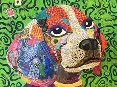 Beagle torn paper collage