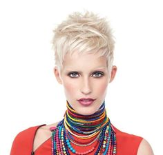 A platinum blonde shows off the texture of this cute pixie cut.